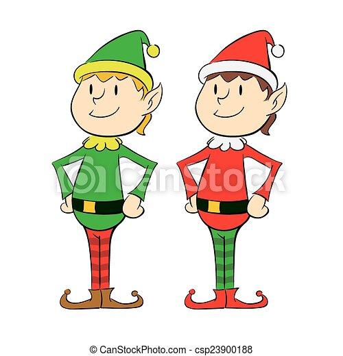 vector illustration of a twin christmas elf rh canstockphoto com Elf Clip Art Christmas Elf