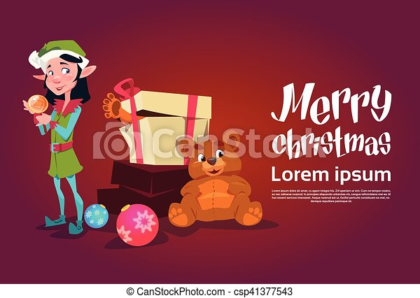 Christmas Elf Girl Cartoon Character Santa Helper With Present Box - csp41377543