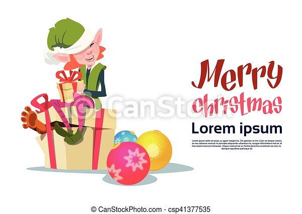 Christmas Elf Girl Cartoon Character Santa Helper With Present Box - csp41377535
