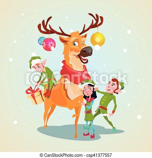 Christmas Elf Group Reindeer Cartoon Character Santa Helper - csp41377557