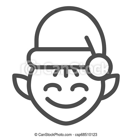 Christmas elf line icon. Santa elf vector illustration isolated on white. Santa s workshop outline style design, designed for web and app. Eps 10. - csp68510123