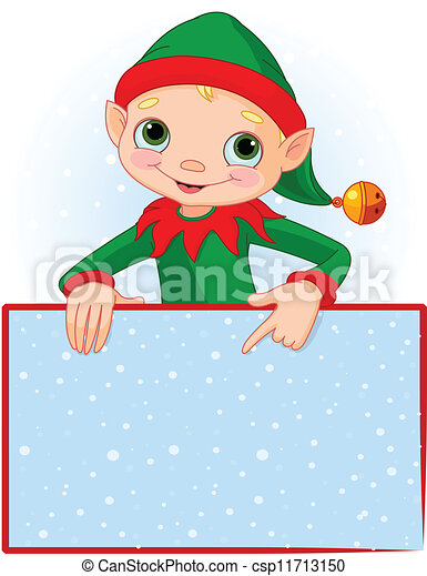 christmas elf place card christmas elf pointing down to a rh canstockphoto com christmas card clipart black and white christmas card clip art free for wife