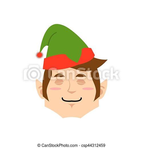 Christmas Elf sleeping Emoji. Santa helper asleep emotion . - csp44312459