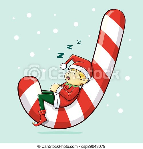 christmas elf sleeping christmas elf sleeping on huge candy cane