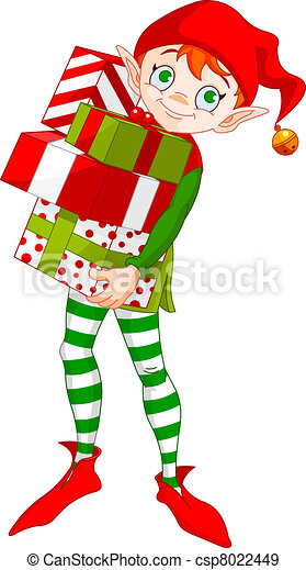 Christmas Elf with gifts - csp8022449