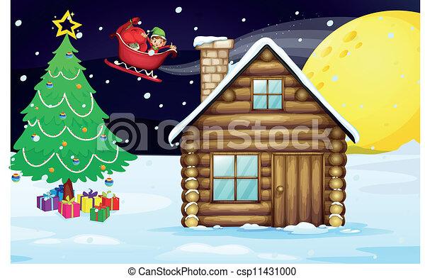 Christmas House Drawing.Christmas Elve And House