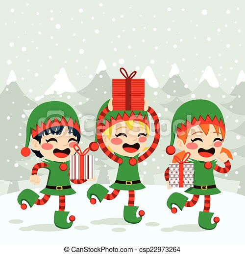 Christmas Elves Carrying Presents - csp22973264