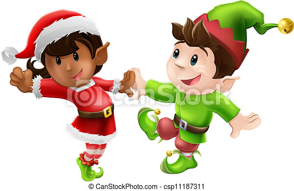 Christmas Dancing Cartoon.Christmas Elves Dancing