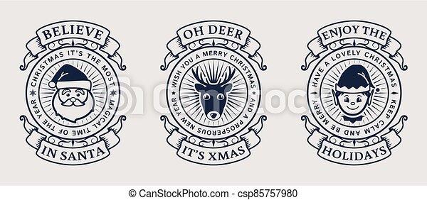 Christmas emblems with Santa, Elf and deer. - csp85757980