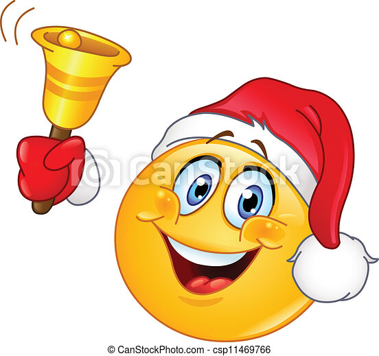 Christmas emoticon with bell - csp11469766