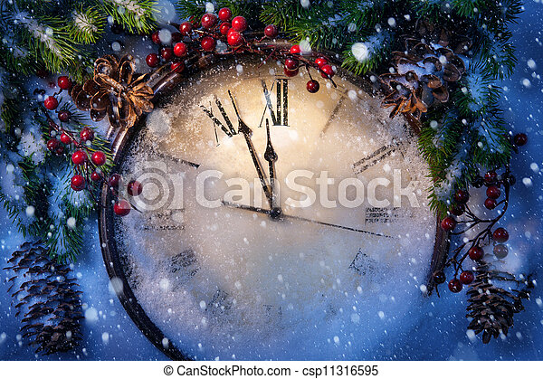Christmas Eve and New Years at midnight - csp11316595