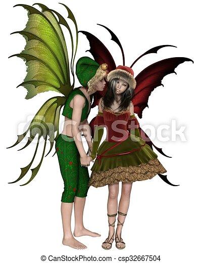 Christmas Fairy Kiss Fantasy Illustration Of A Christmas