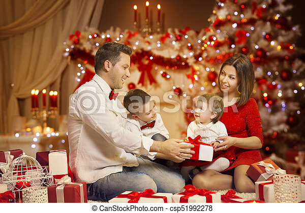 Christmas Family Portraits.Christmas Family Portrait Decorated Xmas Tree Children And Present Gifts