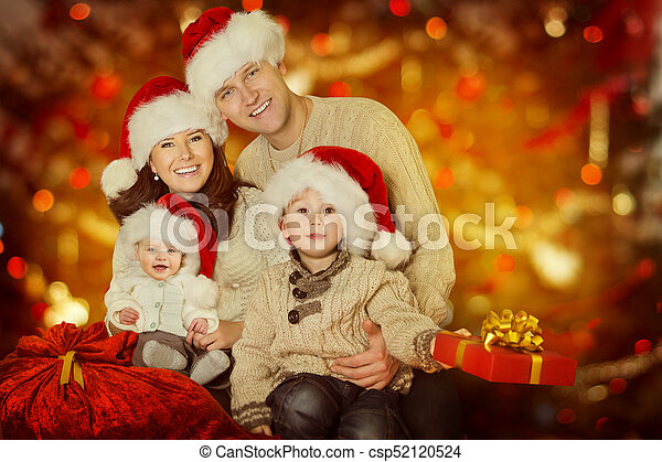 Christmas Family Portraits.Christmas Family Portrait Happy Father Mother Child And