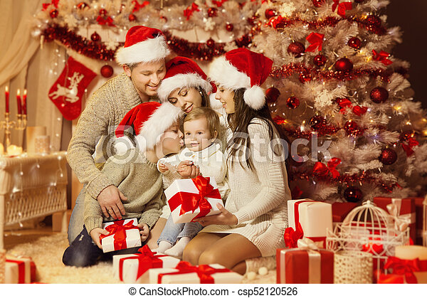 Mother Christmas.Christmas Family Portrait Happy Father Mother Teenager Child And Baby Xmas Tree And Presents Gifts