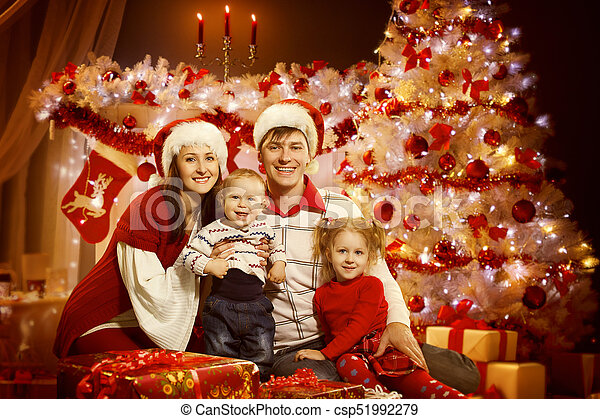 Christmas Family Portraits.Christmas Family Portrait In Xmas Tree Interior Lights Happy New Year With Children
