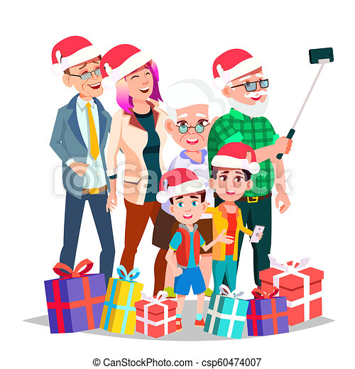 Christmas Family Portrait Vector Big Happy Family Traditional Event Santa Hats New Year Gifts Parents Grandparents Canstock
