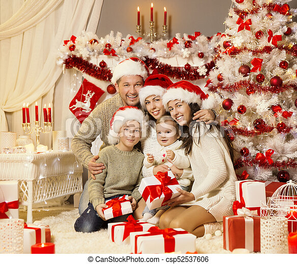 Christmas Family Portraits.Christmas Family Portrait Xmas Tree Presents Gifts Happy