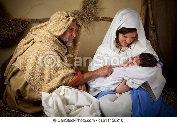 Christmas family reenactment - csp11158218
