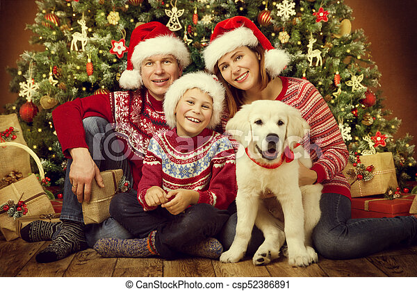 Christmas Family Portraits.Christmas Family With Dog Happy Father Mother Child