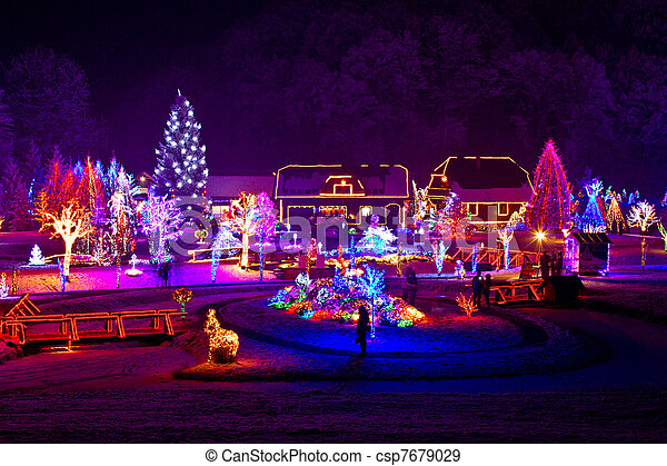 Christmas fantasy - trees and houses in lights - csp7679029