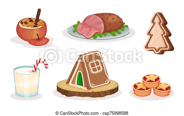 Christmas Festive Dishes and Desserts Set, Traditional Holiday Meal Vector Illustration - csp75998588