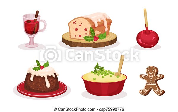 Christmas Festive Dishes and Desserts Set, Traditional Delicious Holiday Meal, Glass of Mulled Wine, Caramel Apple, Mashed Potatoes, Gingerbread, Pudding Vector Illustration - csp75998776