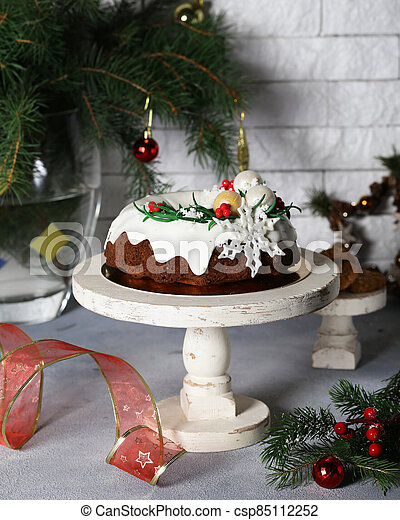 christmas festive fruit cake for dessert - csp85112252