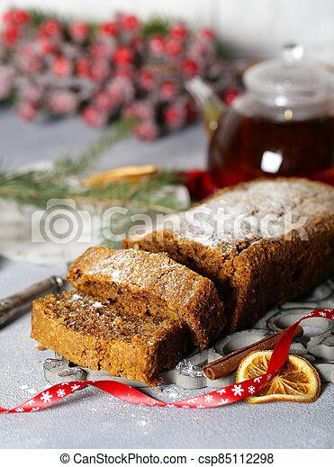 christmas festive fruit cake for dessert - csp85112298
