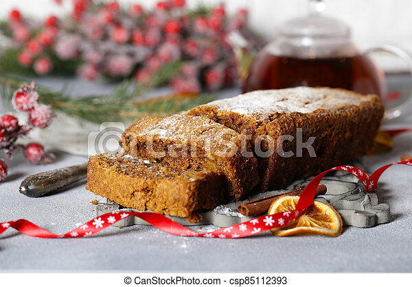 christmas festive fruit cake for dessert - csp85112393