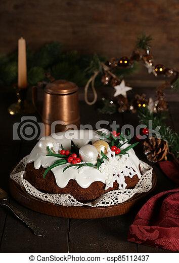 christmas festive fruit cake for dessert - csp85112437