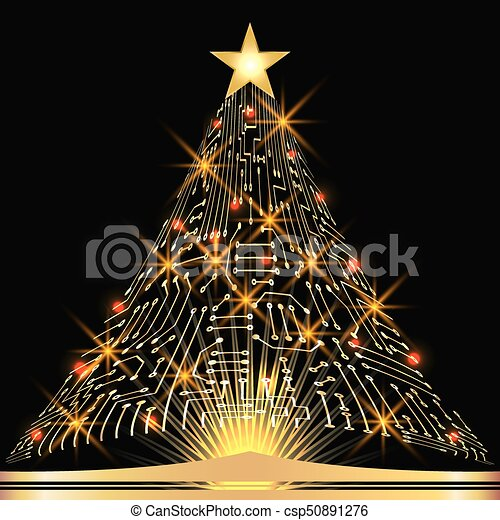 Christmas fir tree from digital electronic circuit with glowing star - csp50891276