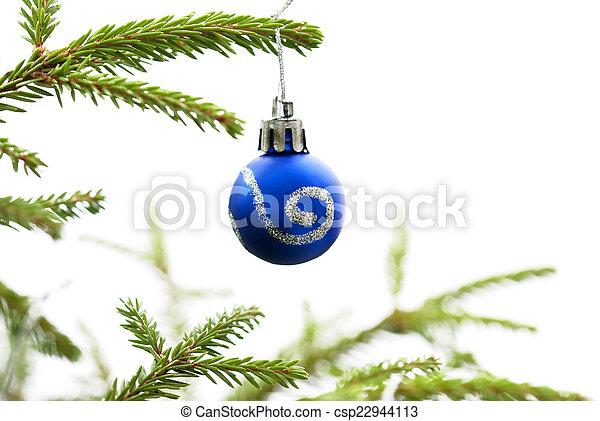 Christmas Fir Tree With Blue Christmas Ball - csp22944113