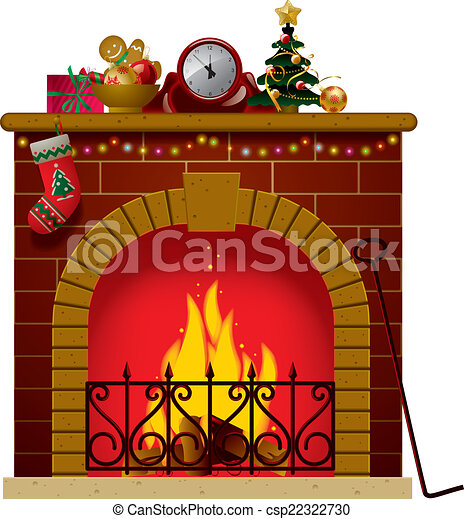 christmas fireplace vector image of the fireplace with a clock and rh canstockphoto com Christmas Fireplace Clip Art Black and White Christmas Fireplace Clip Art Black and White