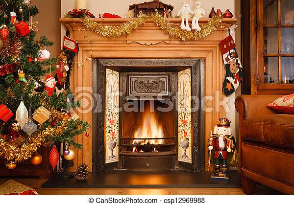 Christmas fireplace - csp12969988