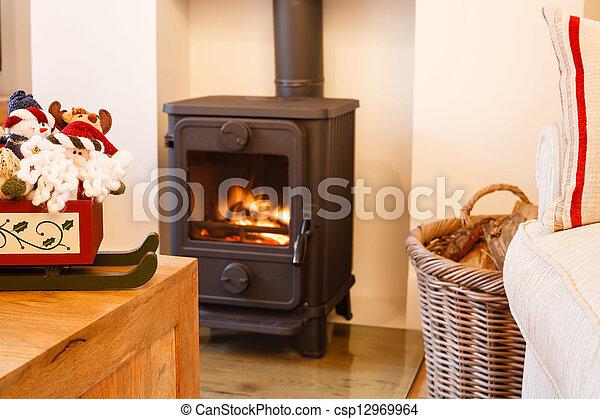 Christmas fireplace - csp12969964