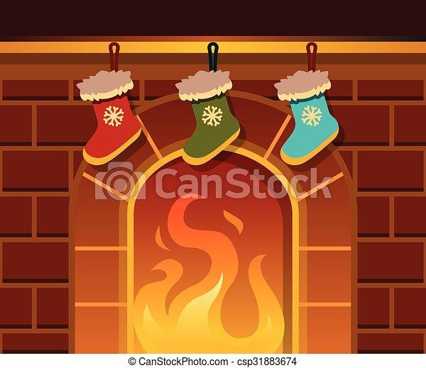 Christmas Fire Place.Christmas Fireplace Vector Cartoon