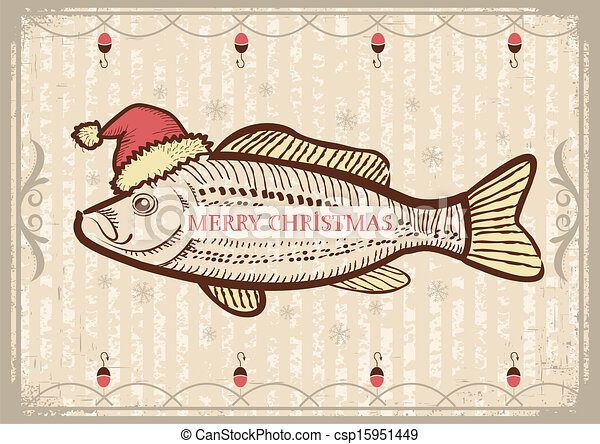 Christmas fish in Santa red hat.Vintage drawing card on old texture for New Year - csp15951449