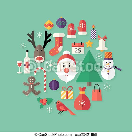 Christmas Flat Icons Set with Santa Claus over Green - csp23421958