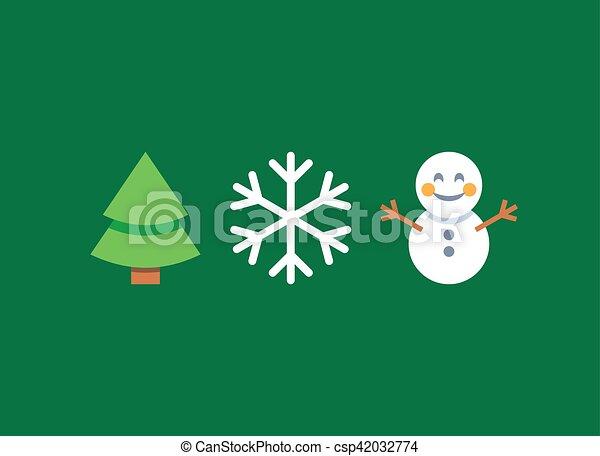Christmas Tree Emoji.Christmas Flat Style Emoji Emoticon Icon Set