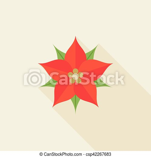 Christmas Flower Poinsettia Flat Design With Long Shadow