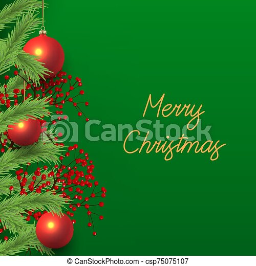 Christmas Flyer Design with Pine Tree Branches - csp75075107