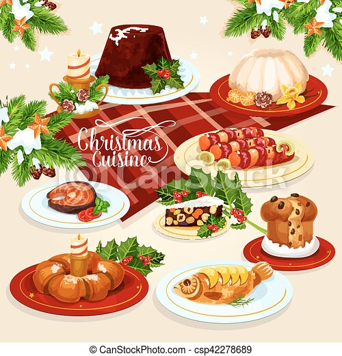 christmas food icon with meat fish pastry dishes vector rh canstockphoto com christmas food hamper clipart christmas food basket clipart