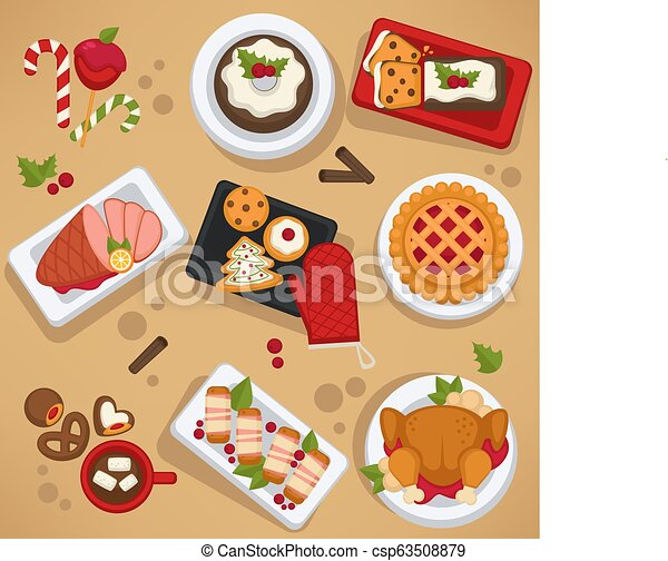 Christmas food on celebrating table feast on winter holiday - csp63508879