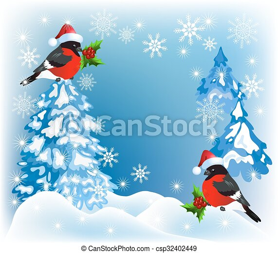 Christmas forest and bullfinches - csp32402449