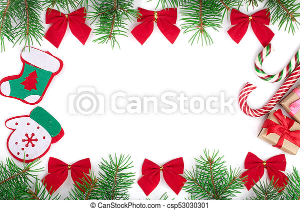 Christmas Frame.Christmas Frame Decorated With Red Bows Isolated On White Background With Copy Space For Your Text