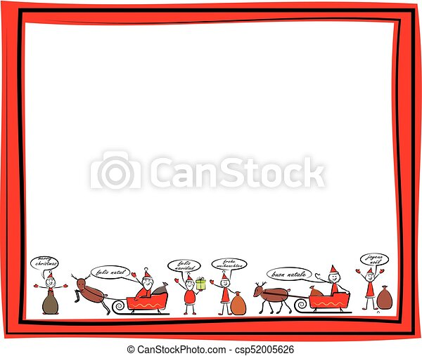 Christmas frame - merry christmas in different languages.... vector ...