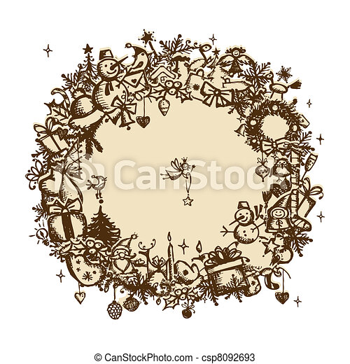 Christmas frame, sketch drawing for your design  - csp8092693