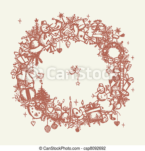 Christmas frame, sketch drawing for your design  - csp8092692