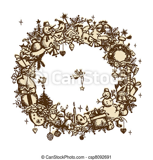 Christmas frame, sketch drawing for your design  - csp8092691